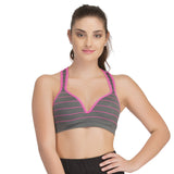Push Up Bra In Dark Grey With Racerback, , Bra Clovia Thailand
