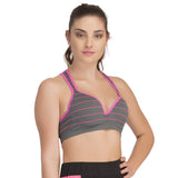 Push Up Bra In Dark Grey With Racerback, L/XL / Grey, Bra Clovia Thailand