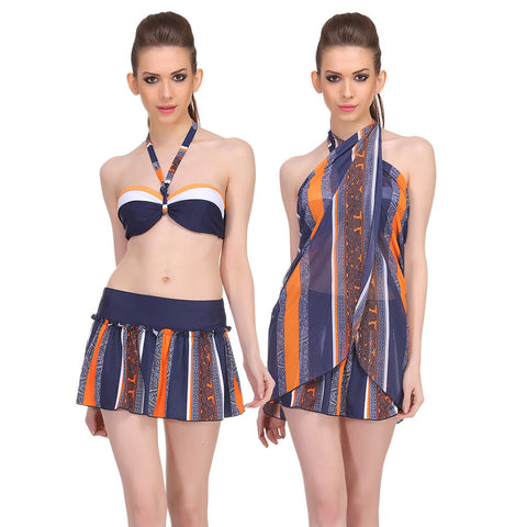 3 Piece Set Of Polyamide & Powernet Halter Padded top with Skirted Bottom and a Sarong in Navy, , Swim-dress Clovia Thailand