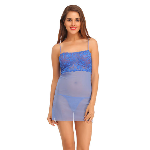 Lace & Powernet Babydoll With Matching Thong & Raw Edges - Blue, , sleepwear Clovia Thailand