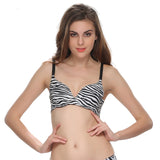 Cotton Laser Cut Padded Bra With Black Abstract Print, , Bra Clovia Thailand
