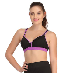 Padded Sports Bra In Black With Lavender TRIMS & Broad ELASTIC, L / Purple, Bra Clovia Thailand