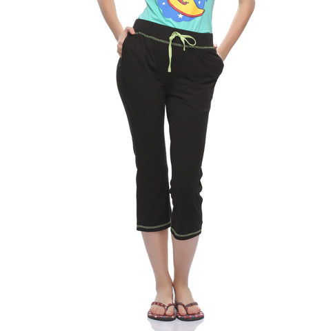 Soft Cotton Capri In Black, , Capri Clovia Thailand