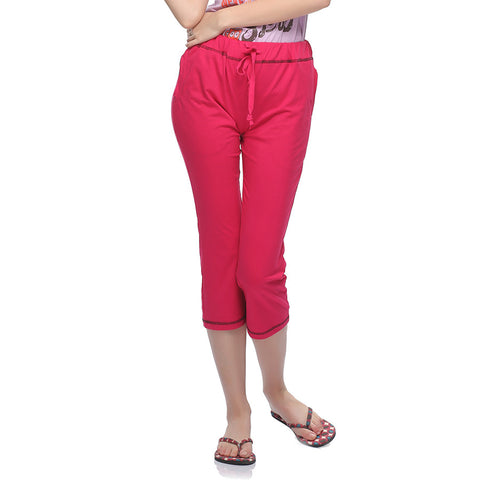Soft Cotton Comfy Capri In Hot Pink, , Capri Clovia Thailand