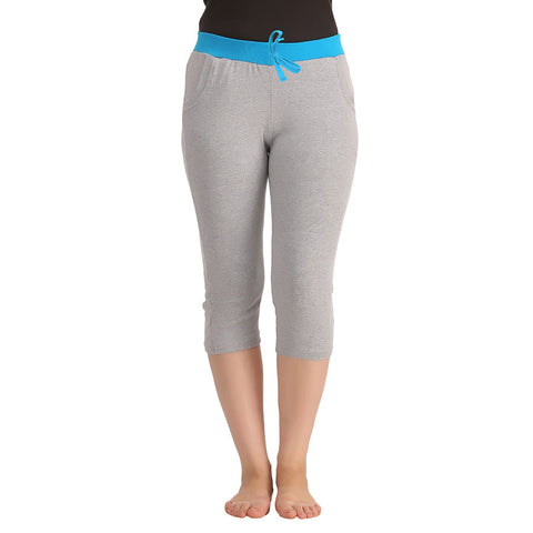 Cotton Yoga Capri - Grey, , Capri Clovia Thailand