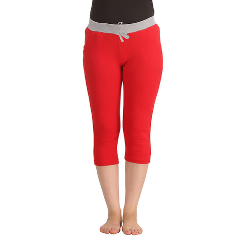 Cotton Yoga Capri - Red, , Capri Clovia Thailand