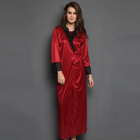 2 Pcs Satin Nightwear Set in Maroon & Black - Long Robe & Nightie, , Sleepwear Clovia Thailand