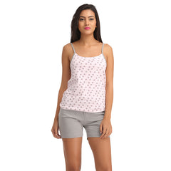 Cotton Printed Camisole & Shorts - Pink, , Shorts Clovia Thailand