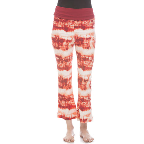 Cotton Flared Bottom Yoga Pants With Maroon Printed Waist Band Lounge Bottom Clovia - Clovia Thailand