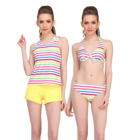 4 Piece Polyamide Striped Swim Set of Tankini in Multicolour, , Tankini, Trunk, Bikini Clovia Thailand