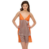 Grey Cami And Shorts With Lace, , sleepwear Clovia Thailand