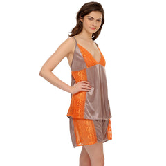 Grey Cami And Shorts With Lace, M / Grey, sleepwear Clovia Thailand