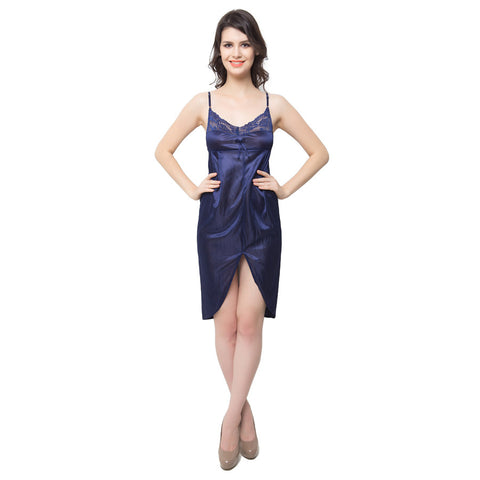 Lacy Short Nightdress In Navy Blue, , sleepwear Clovia Thailand