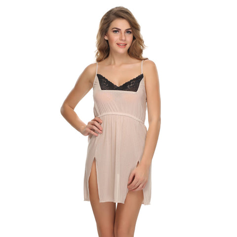 Sexy Short Nightdress In Beige, , sleepwear Clovia Thailand