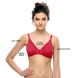 Non-padded Demi Cup T-shirt Bra With Lace In Hot Pink, , Bra Clovia Thailand