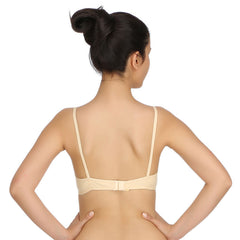 Cotton Non-Padded Wirefree Demi Cup T-shirt Bra - Skin, 32C / Nude, Bra Clovia Thailand