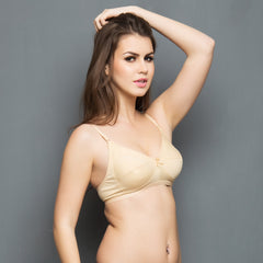 Cotton Rich Non-padded Full Support Bra In Skin, 32B / Nude, Bra Clovia Thailand