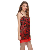 Black And Red Short Nightdress, S / Black, sleepwear Clovia Thailand