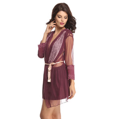 Sensuous Nightwear Mesh Lace Robe, S / Purple, sleepwear Clovia Thailand
