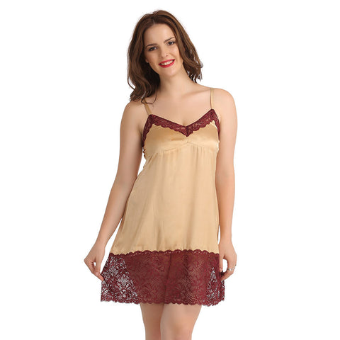 Satin Babydoll With Contrast Lace At Neckline - Skin, , sleepwear Clovia Thailand