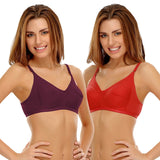 Pack Of 2 Cotton Non-Padded Wirefree Full Cup Bra, , Bra Clovia Thailand