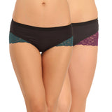 Pack Of 2 Mid Waist Hipster With Lace Wings, , Panty Clovia Thailand
