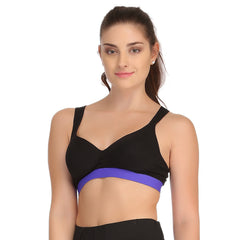 Cotton Padded Sports Bra In Black With Royal Blue Broad Elastic, L / Blue, Bra Clovia Thailand