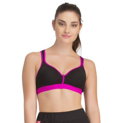 Padded Sports Bra In Black With Pink Trims & Broad Elastic, , Bra Clovia Thailand