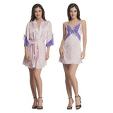 Satin & Lace Nightslip And Robe - Pink & Purple, , sleepwear Clovia Thailand