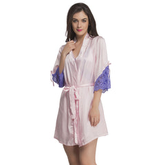 Satin & Lace Nightslip And Robe - Pink & Purple, S / Pink, sleepwear Clovia Thailand