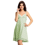 Pista Green Polka Beach Dress, , sleepwear Clovia Thailand