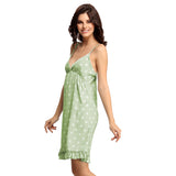 Pista Green Polka Beach Dress, S / Green, sleepwear Clovia Thailand