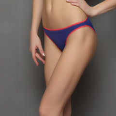 Bikinii In Blue With Neon Pink Trims, L / Blue, Panty Clovia Thailand