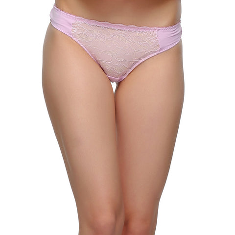 Polyamide & Lace Thong With Low Waist In Light Pink, , Panty Clovia Thailand