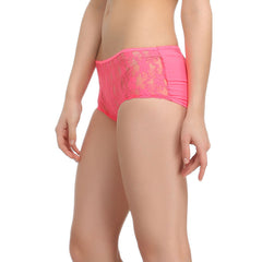 Pink Boyshorts With All Over Front Lace, S / Pink, Panty Clovia Thailand