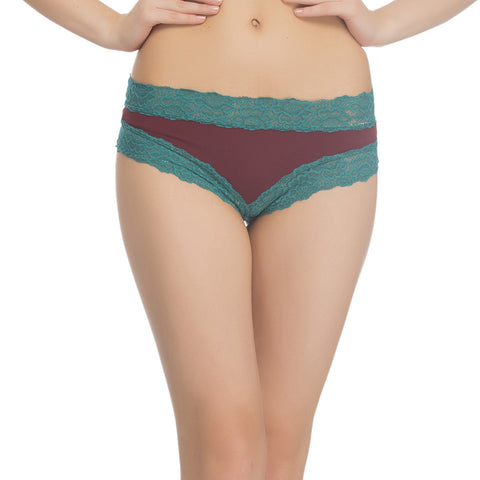 Maroon Hipster With Contrast Lace at Waist & Leg, , Panty Clovia Thailand