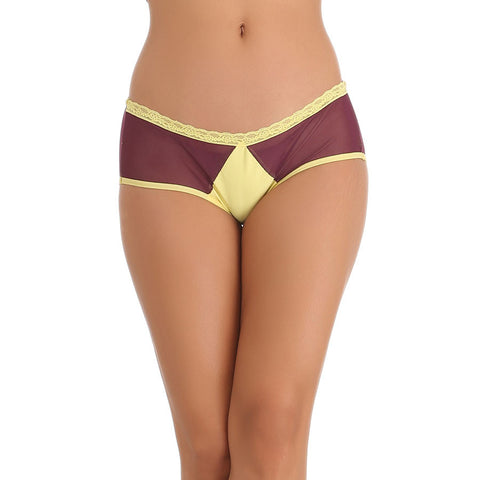 Purple Hipster With Contrast Waist and Front Lining, , Panty Clovia Thailand