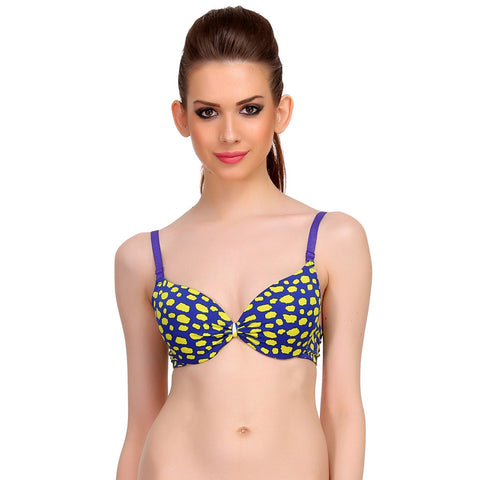 Polyamide Push-Up Bra In Yellow With Detachable Straps, , Bra Clovia Thailand