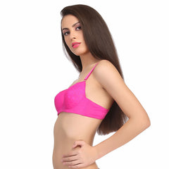 Padded Bra In Hot Pink With Demi Cups, 32B / Pink, Bra Clovia Thailand