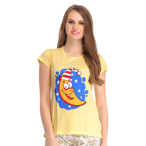 Printed Cute T-Shirt In Yellow, , Sleepwear Clovia Thailand