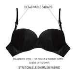 Push Up Balconette Demi Cup Bra With Detachable Straps - Black, , Bra Clovia Thailand