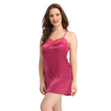 Satin & Lace Babydoll With Cross Back Straps - Purple, S / Purple, sleepwear Clovia Thailand