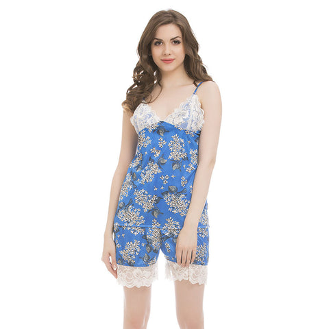 Satin & Lace Printed Top & Shorts Nightsuit - Blue, , Shorts Clovia Thailand
