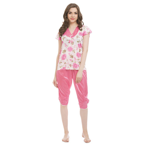 Satin & Lace Top and Capri - Pink, , Capri Clovia Thailand