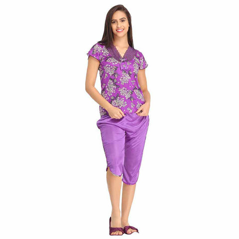 Satin & Lace Top & Capri Nightsuit - Purple, , Capri Clovia Thailand