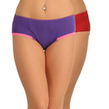 Set of 2 Cotton & Lace High Waist Hipster - Purple & Maroon, , Panty Clovia Thailand