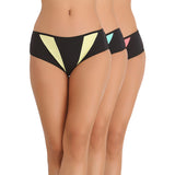 Set of 3 Cotton Mid Waist Bikiniis - Yellow, Blue & Pink