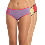 Set of 3 Cotton High Waist Hipsters - Purple, Green & Red, , Panty Clovia Thailand