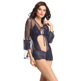 Sexy Teddy & Robe Set In Navy, S / Blue, Teddy Clovia Thailand