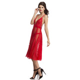 Sheer Red Plunged Neck Night Dress, S / Red, sleepwear Clovia Thailand